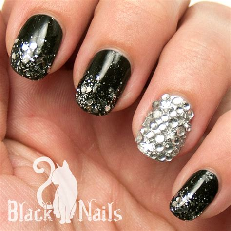 easy nail art black and silver black and silver gothic winter nail art black cat nails