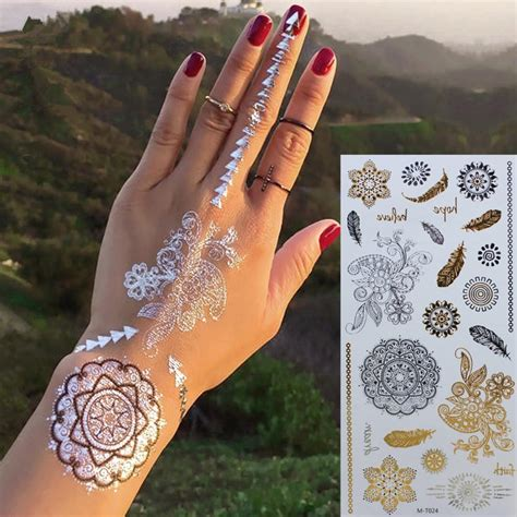 henna metallic temporary tattoo gold silver temporary sleeve arm flash