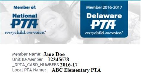 pta membership card template membership card delaware pta