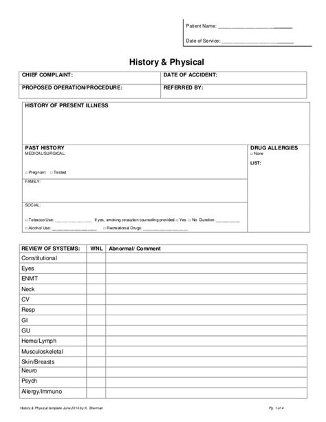History Physical Template history physical form pdf