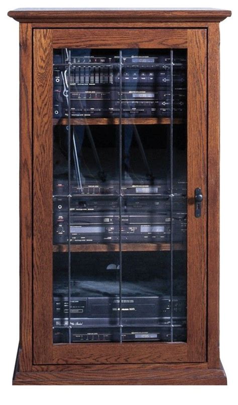 audio cabinet with doors forest designs audio tower with glass door in mission oak