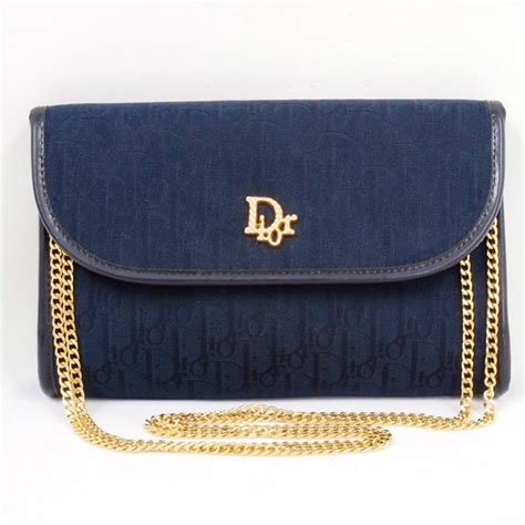 vintage christian dior monogram royal blue chain