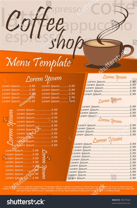 free coffee shop menu template coffee shop menu template vector illustration stock vector