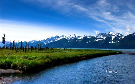 bing wallpapers as desktop background mountain lake bing theme of photography snow capped mountains of the