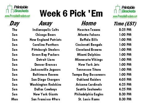 Office Football Pool Week 6 Nfl Em Week 6 Pro Football Em Week 6