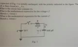 a capacitor c is initially uncharged at time t 0 capacitor of fig 1 is initially uncharged with t chegg
