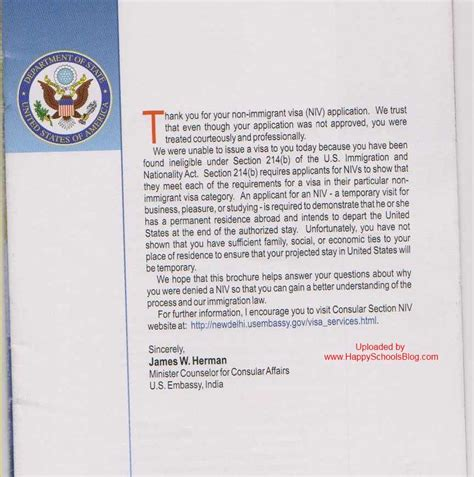 Visa Rejection Letter Sle F1 Visa Rejection Reasons Booklet 214 B Potential Immigrant