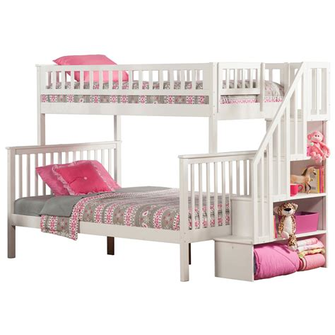 woodland twinfull staircase bunk bed white ab