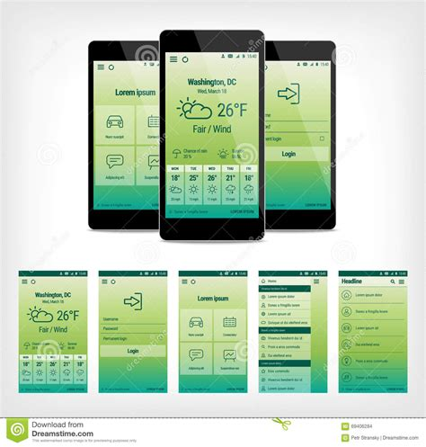 design app price vector set of green mobile user interface design stock