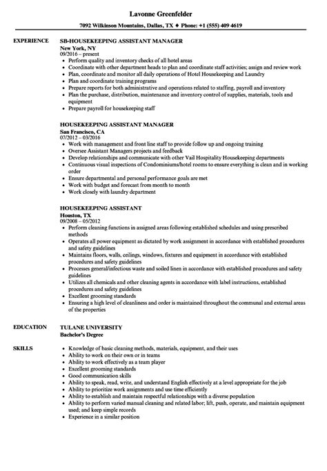 sle assistant housekeeping manager resume housekeeping assistant resume sles velvet
