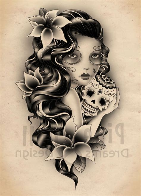 sugar skull lady tattoo designs the gallery for gt traditional meaning