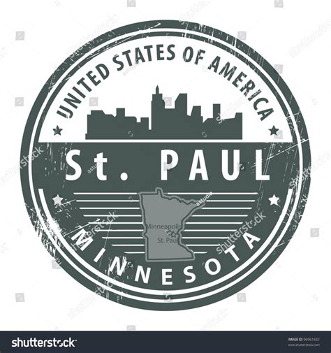 Grunge Rubber St With Name Of Minnesota St Paul