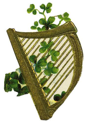 harp with clovers irish clip art melody g flickr