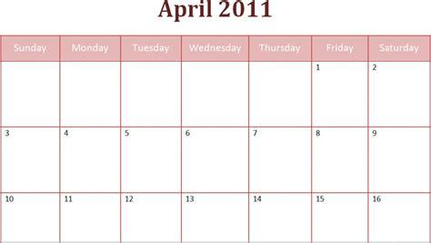 Kalender April 2011 April Calendar 2011 Easter