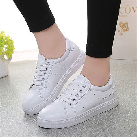 korean shoes white pu korean style breathable simple lace up flat