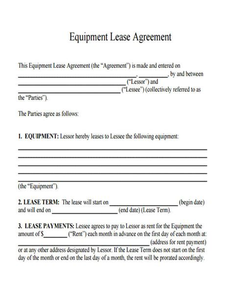 equipment lease agreement template equipment lease agreement agreement real estate forms