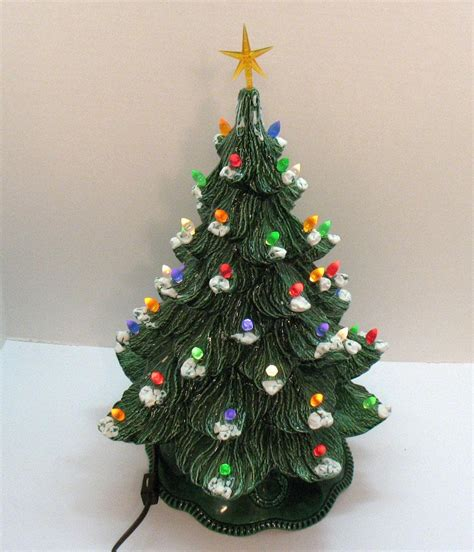 ceramic christmas tree l vintage ceramic christmas tree with faux plastic lights