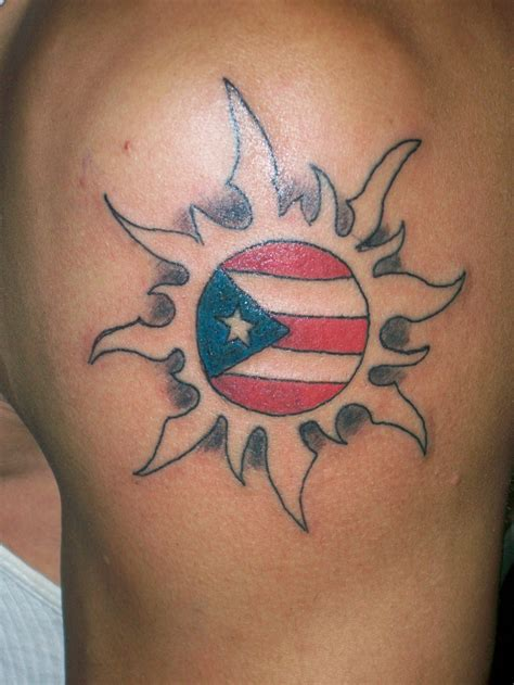 puerto rican tattoos cool flag sun on arm