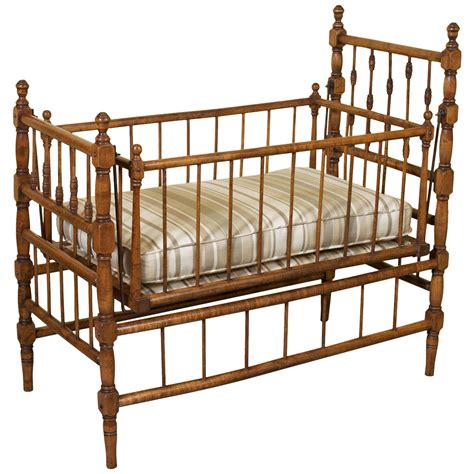 swinging country 19th century country french birchwood swinging cradle at
