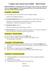 Exle Compare And Contrast Essay by Compare And Contrast Essay Outline Block Format Chainimage