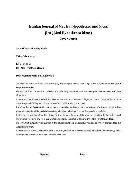 articles on cover letters exle of cover letter for journal publication