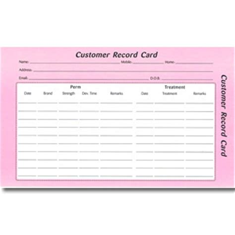 record card template direct salon supplies customer record cards pack 100