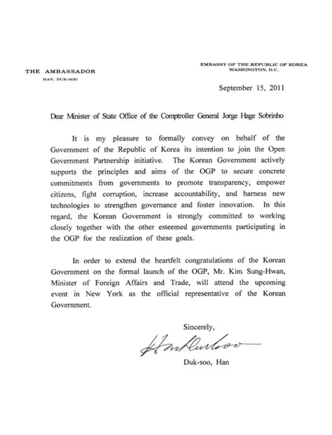 Letter Of Intent Introduction South Korea Open Government Partnership
