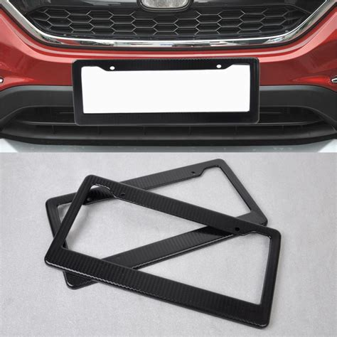 Stand Car Btc 02 2pcs universal jdm front rear carbon fiber look usa canada license plate frame tag cover holder