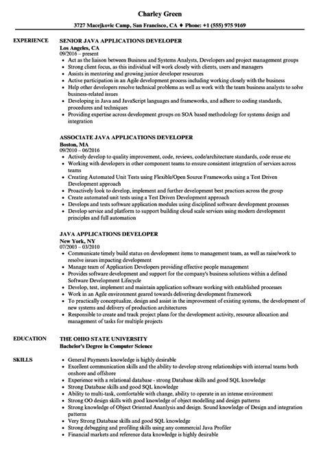 java applications developer resume sles velvet jobs