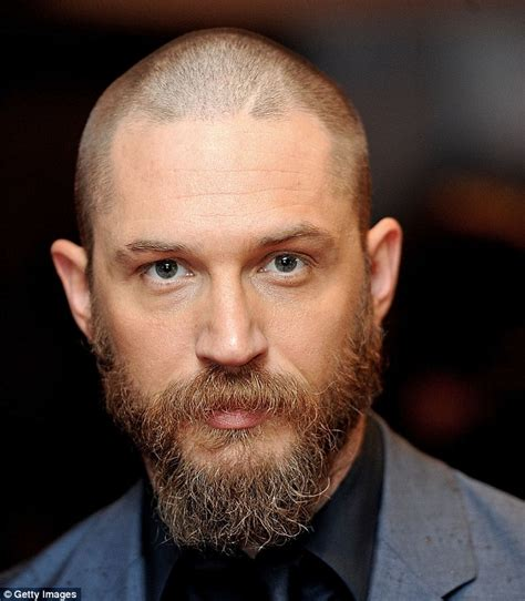thining hair large ears tom hardy unveils drastic buzz cut and beard at premiere