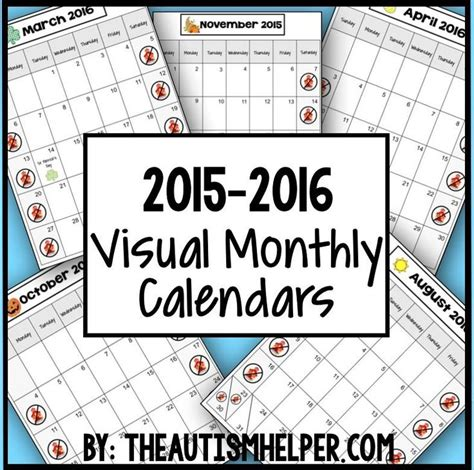 Asd Calendar 2015 2015 2016 Visual Monthly Calendars For Children With