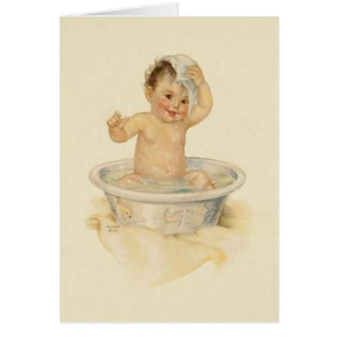vintage baby bathtub vintage baby bath note card zazzle