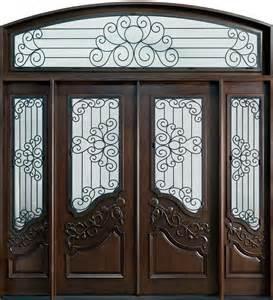 Iron Corbel Front Door Custom Double With 1 Sidelite Solid Wood