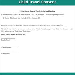 Authorization Letter For Minor Travel Canada child travel consent form free minor travel consent letter us