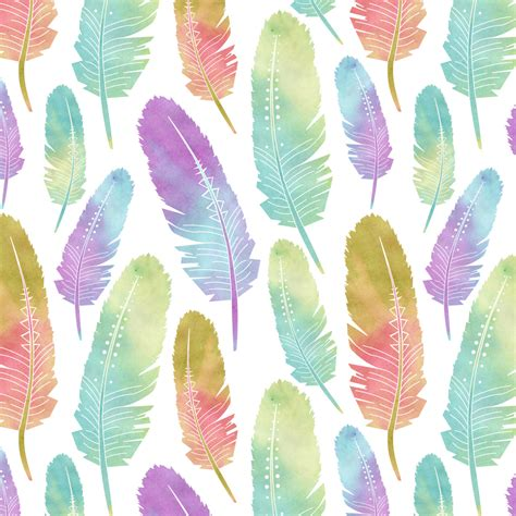 Watercolor Feather Pattern | boho feather pattern watercolor rainbow by jannasalak