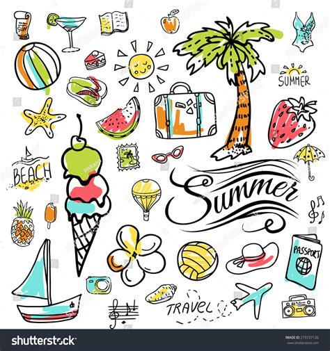 summer doodle free vector set of vector doodle summer icons 273737120