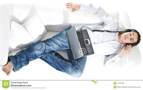 music couch relaxing with music on the couch stock photography image