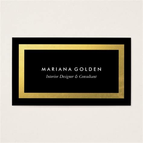 business card border template thick gold border on black business card template zazzle