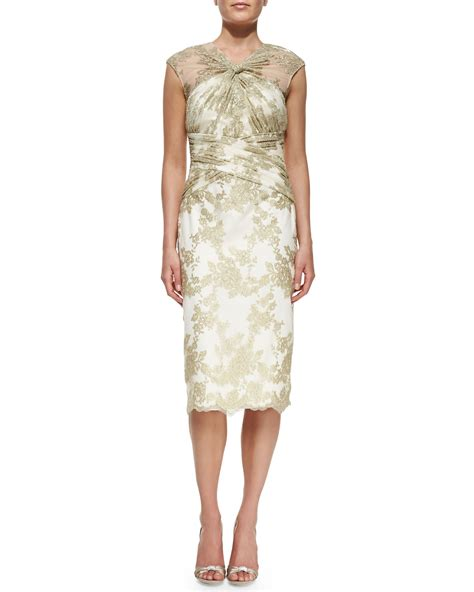 sleeve lace cocktail dress lyst badgley mischka cap sleeve lace overlay cocktail
