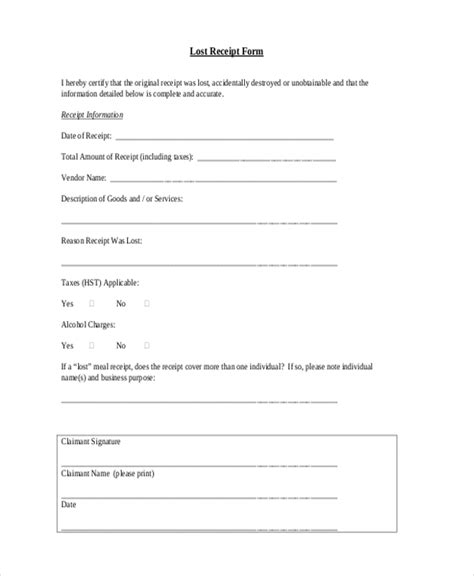 lost receipt form template 22 sle receipt form free documents in pdf