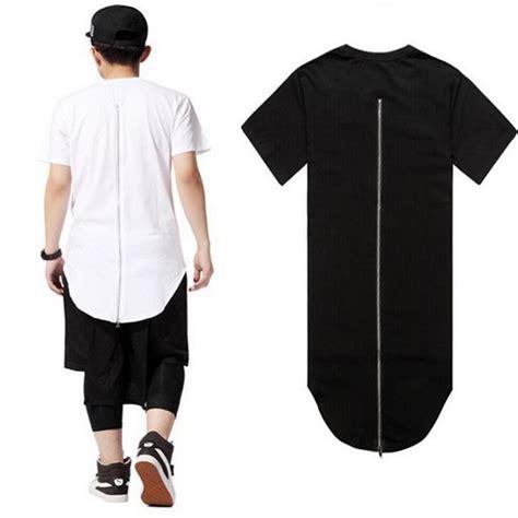 Kaos Hoodie Polos Lengan Panjang Longline Streetwear Hypebeast Murah atsc024 sale fashion black white back zipper streetwear swag hip hop t shirt