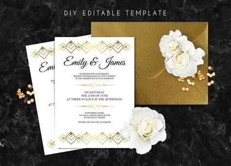 Editable Wedding Invitation Template Great Gatsby Wedding Invitation Diy Printable Wedding Great Gatsby Wedding Invitation Templates