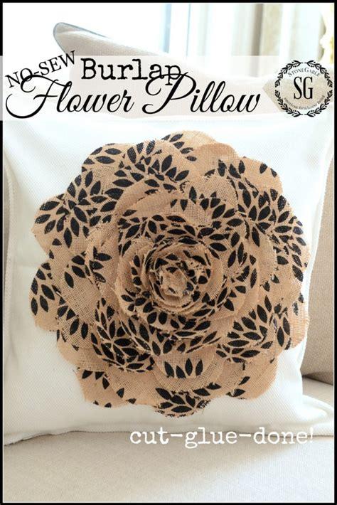 No Sew Burlap Pillow by No Sew Burlap Flower Pillow Bigdiyideas