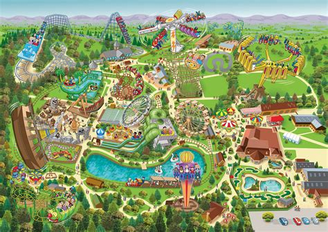theme park uk map lightwater valley theme park map illustration on behance