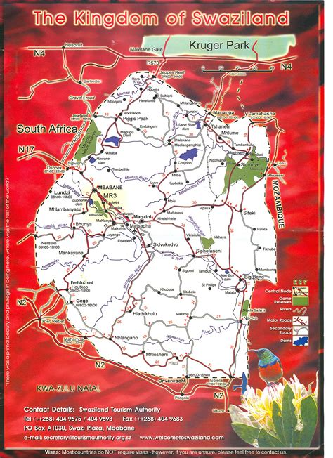 swaziland map large detailed tourist map of swaziland swaziland large detailed tourist map vidiani