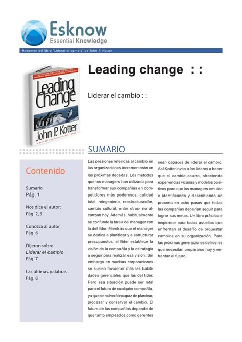 libro leading change with a liderar el cambio con video y audio