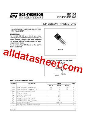 equivalent transistor bd 140 bd140 datasheet pdf stmicroelectronics