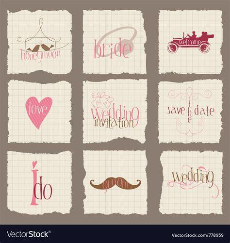 love wedding design elements vector paper love and wedding design elements for invita royalty