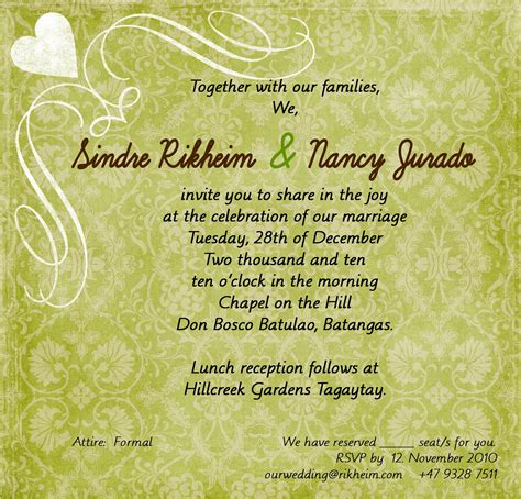 wedding invitation for friends in nancy and sindre s wedding just another