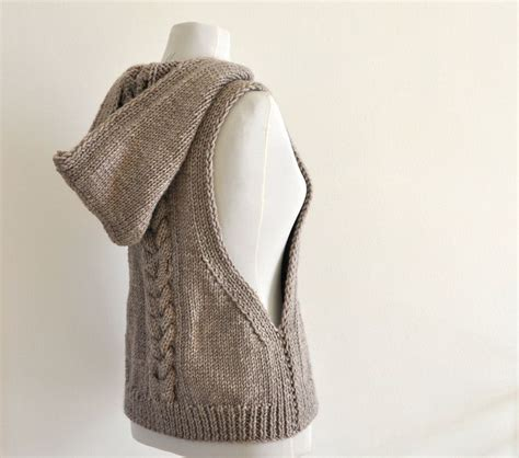 knitted vest sweater vest hooded vest sweater knit pale brown